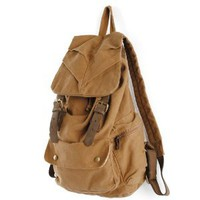 Amazon.com: KHAKI Rucksack-Styled Thick Canvas Backpack Great for School and Camping,Genuine Leather Straps: Everything Else