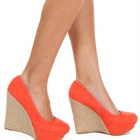 Coral Suede Round Toe Wrapped Wedge