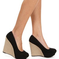 Black Suede Round Toe Wrapped Wedge