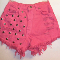 Vintage Levis High Waist Denim Shorts Dyed HOT  by Turnupthevolume