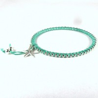 Bangle Bracelet Cotton and Bead Wrapped Teal Silver Starfish Charm