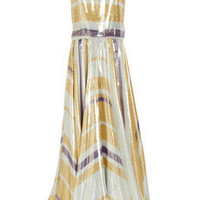 Lanvin | Striped silk-blend lamé gown | NET-A-PORTER.COM