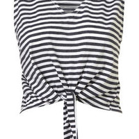 Stripe Knot Crop - Jersey Tops - Apparel - Topshop USA