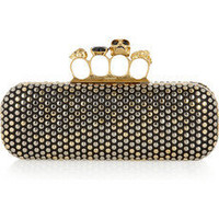 Alexander McQueen | Swarovski crystal-studded skull leather knuckle box clutch | NET-A-PORTER.COM