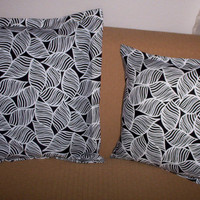 Throw Pillows Black and White Pillow Covers by UniquesewingBoutique