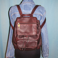 vintage LARGE FOSSIL dark mahogany brown pebble leather backpack. ruck sak. hipster. large daypack. leather messenger