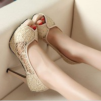 Lace Peep Toe Pumps