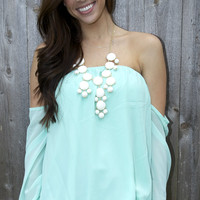 Off the shoulder blouse in mint from Monica's Closet Essentials