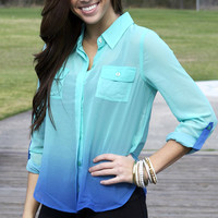 Ombre button down in aqua from Monica's Closet Essentials