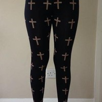 Black Leggings With Gold Crosses from chloeflanagan4