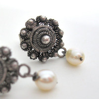 Antique Pearl Earrings Sterling Silver White Fresh Water Pearls Posted Floral Swirl 1920