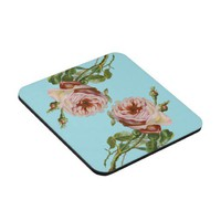 Vintage Pink Rose Drink Coaster Set from Zazzle.com