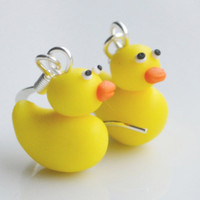 Rubber Duck Earrings Cute Miniature Yellow by SweetnNeatJewellery