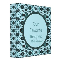 Recipes Made With Love - Vintage Aqua Floral Vinyl Binder from Zazzle.com