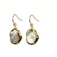 Kieshi Pearl Earrings edged with 24k gold on gold fill earwires also available in sterling silver