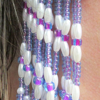 Fringe Ear Wrap Cuff - Purple, Blue, Beaded Bridal Accessory