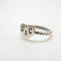 Initials Heart Ring Sterling Silver Stacking Ring by BooBeads