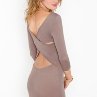 Cross Over Dress - Mocha in Clothes at Nasty Gal
