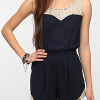 Urban Outfitters - Pins and Needles Crepe Lace Inset Romper