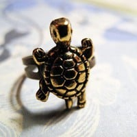 Turtle Charm Ring - Gold Plated - Adjustable