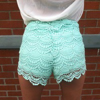 High Waisted Crochet Shorts (Teal) from Affaire d&#x27;Amour