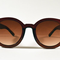 Vintage Burgundy Brown Oversized Circle Sunglasses