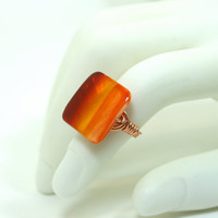 Shell Ring Red Orange Yellow Square Striped Copper Wire Wrapped Ring Size 6 1/2