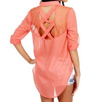 Peach Lace Collar Top