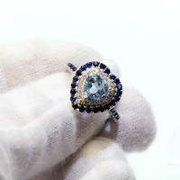 Engagement Ring -  1 Carat Aquamarine Sapphire Ring With Diamonds In 14K White Gold