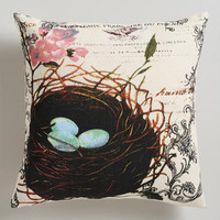 Robin Eggs Bird Nest Throw Pillow