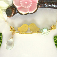 Green amethyst flower gold love bird branch necklace