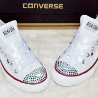 Customised Crystal White Low Top All Star Converse with Blinged Crystal Toes &amp; White Satin Ribbon Laces Custom Order Womens Adults Shoes