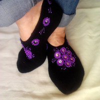 Knitted Chic Glittering Slippers by sebsurer on Etsy