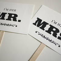 Mr And Mrs - Thank You - Double Sided Photo Props Signs (PRINTABLE) | Luulla