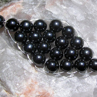 Hematite Gemstone Beaded Woven Leaf Pendant - Special Offer Price