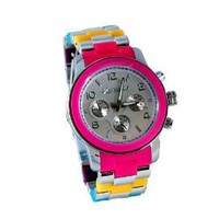 Varsales Womens's Muti-Color Silicone / Silver Acrylic Closed Band Watch#4864