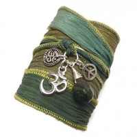 Silk Wrap Bracelet with Om Symbol, Peace Sign, and Jade | charmed design