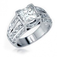 Bling Jewelry Sterling Silver Engagement Ring Vintage Double Shank Princess Cut CZ 2ct