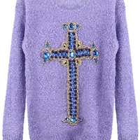 "ROMWE | ""Jewelery Metallic Cross"" Purple Jumper, The Latest Street Fashion"