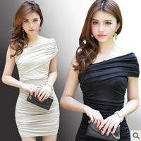 New Elegant short Sleeve slim Fold Evening Cocktail Party Mini Dress Women's