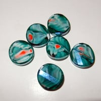 Aqua, White and Coral Flat, Round Glass Beads (6)