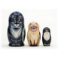 Amazon.com: NEW RUSSIAN HOUSE CATS MATRYOSHKA 3 PIECE NESTING DOLL: Everything Else