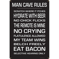 Man Cave Rules Metal Bar Sign - Larger Images