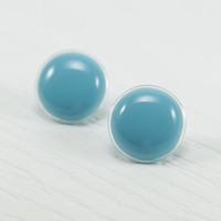 Turquoise Stud Earrings 20mm - Turquoise Post Earrings - Surgical Stainless Steel Posts - Turquoise Jewelry - Bridesmaid Prom Gifts