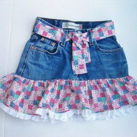 Upcycled Jean Skirt in Cotton Patchwork Fabric Size 9 Reg.