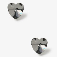 Mirrored Faceted Heart Studs | FOREVER 21 - 1000049944