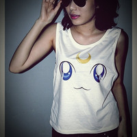 Luna Sailor Moon Cat Shirt Side Boob Crop Top Short Tank Top Antique Off White Free Size