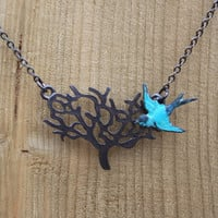 Black Tree Necklace with Blue Bird, Great Gift, Everyday Jewelry