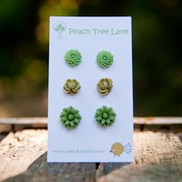 Light Green, Olive Green, Daisy Mum & Rose Cabochon Flower Post Earrings - Split Pea | Luulla