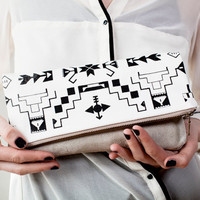 Tribal Pattern Printed Leather-Suede Pouch black No. ZP-103